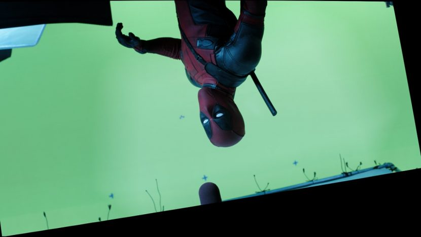 Deadpool set up for a slow-mo fourth wall break.