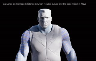 Evaluated and remaped distance between Houdini curves and the base model in Maya.