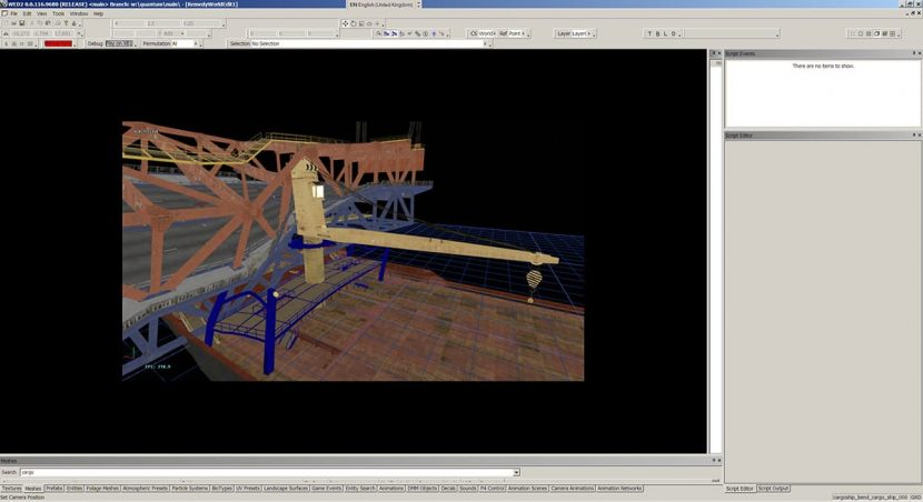 Screenshot of bridge crash scene in WED level editor.