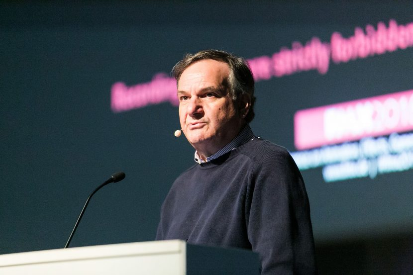 VFX supervisor Rob Legato speaking at FMX this week (Photo by Peter Hacker)