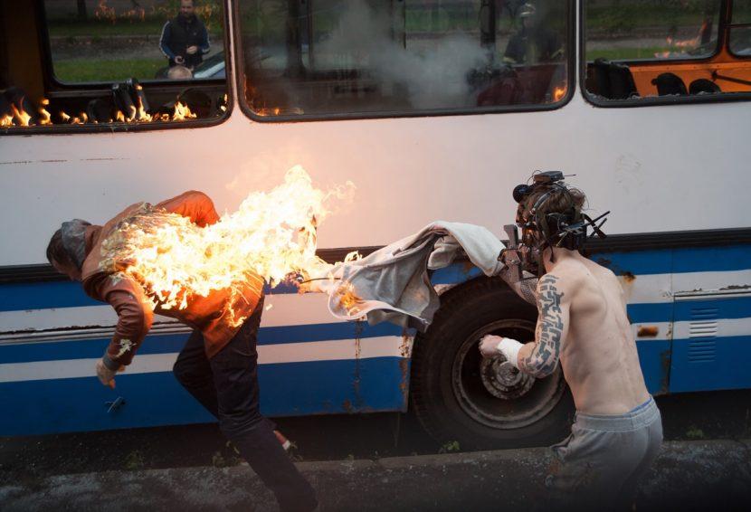 Filming a fiery scene.
