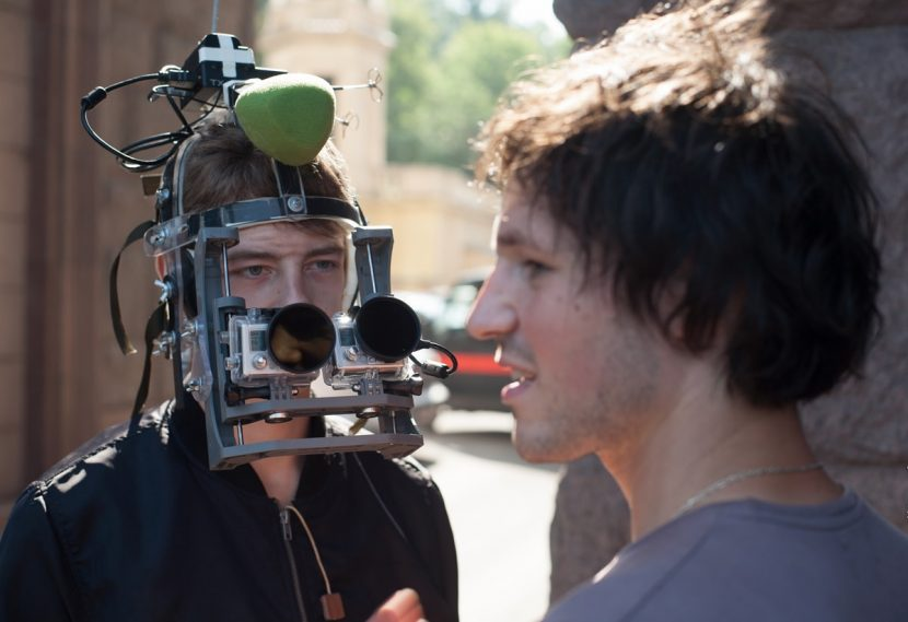 The head rig mask worn to capture the POV action in Hardcore Henry.