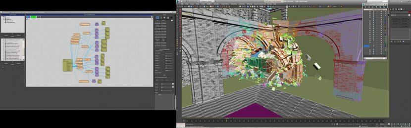Train crash TP simulation inside 3DS Max, colours represent different TP groups.