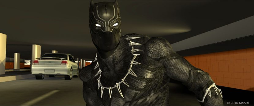Previs included visualizing possible movement and fight styles for Black Panther, who makes his first big-screen appearance in the film. Copyright Marvel 2016 and courtesy of The Third Floor, Inc.