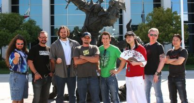 From left to right: Samwise, Metzen, René of Twincruiser, Thammer, Raneman, Drawgoon, Red Knuckle and (most right) Glowei