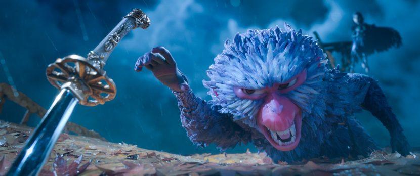 Monkey battles to protect Kubo.