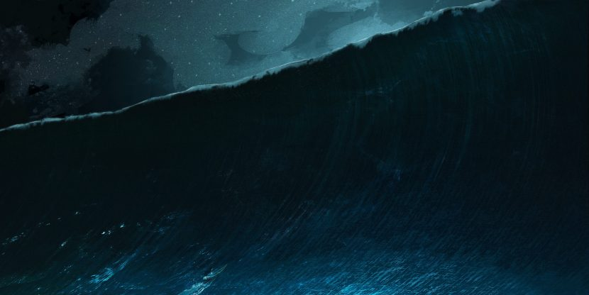 The LAIKA VFX team began big wave development by drawing inspiration and design cues from this piece of artwork provided by Production Designer Nelson Lowry and the art department.