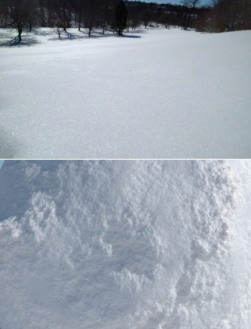 A real photograph of sparkling snow (top) and sparkling 3D snow with SSS base layer, stochastic flakes material coat and a bump map for the fine surface (bottom).