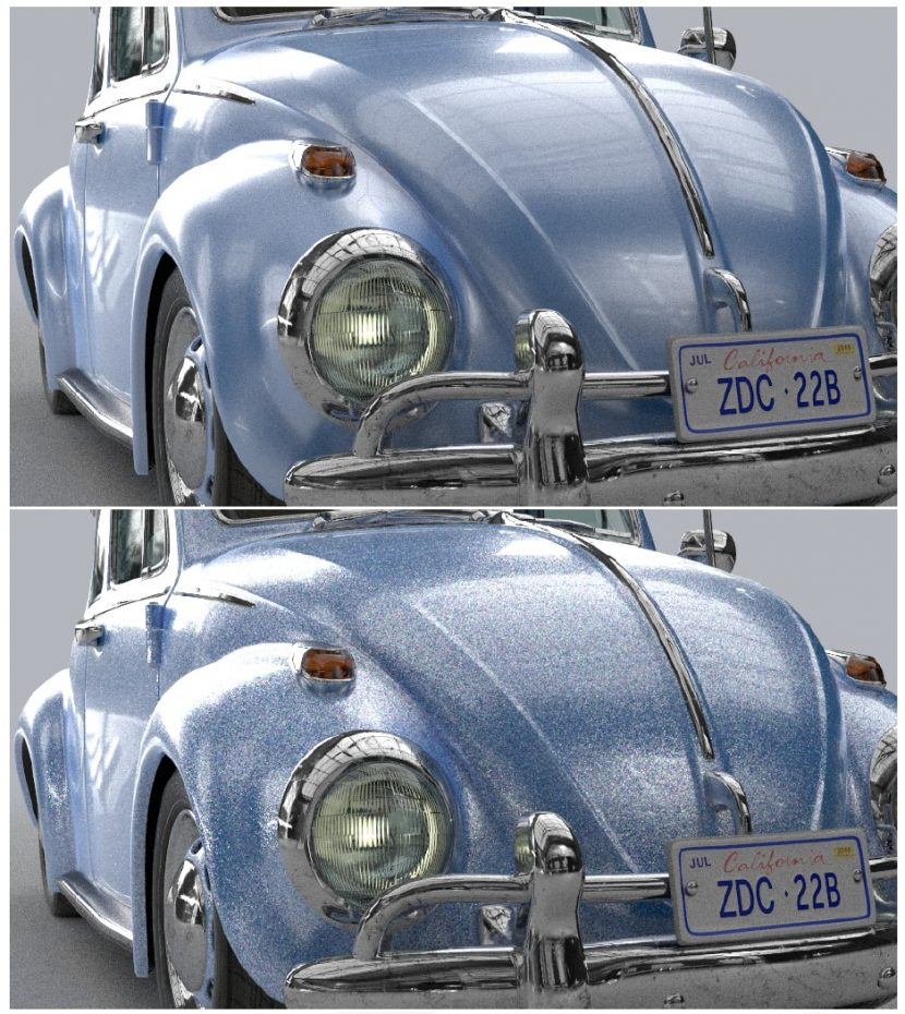 3D VW with and without (bottom) the new spec
