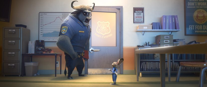 Buffalo Chief Bogo and rabbit Judy Hopps. ©2016 Disney. All Rights Reserved.