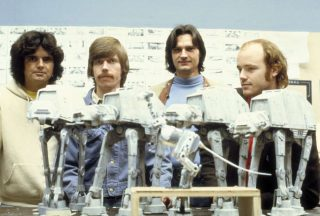Tom St. Amand, Doug Beswick, Jon Berg and Phil Tippett with a snow-walker puppet, back in the day. Photo: Lucasfilm