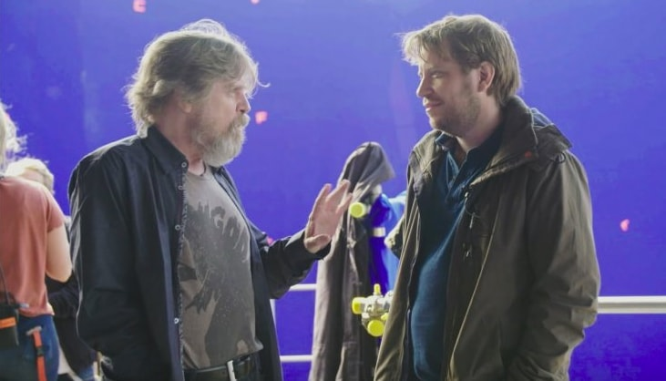 Gareth Edwards talks to Mark Hamill aka Luke Skywalker, during a set visit.