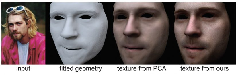 The PCA approach does not work as well as the new approach on the actual face texture, as seen in this comparison.